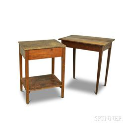Two Country Pine-top Stands