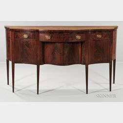 Mahogany and Mahogany Veneer Inlaid Serpentine-front Sideboard
