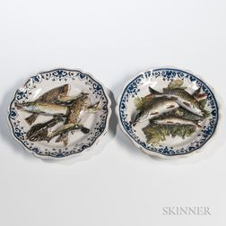 Pair of Leon Brard Palissy Ware Fish Dishes