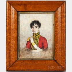 Framed Watercolor Portrait of a Military Officer