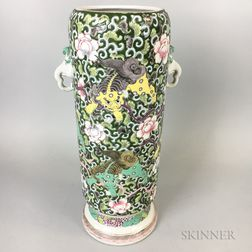 Chinese Enameled Porcelain Cylindrical Vase