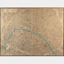 Large Vintage Bloundel La Rougery Map of Paris