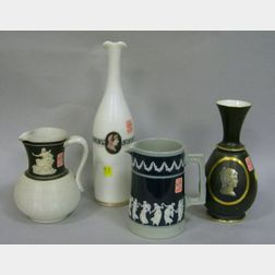 Copeland Stoneware Pitcher, an English Salt Glazed Jug, and a Classical Revival Decorated Decanter and Vase.