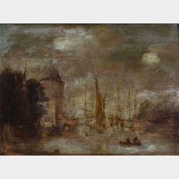Dutch School, 18th/19th Century    The Bustling Harbor.