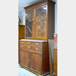 Chippendale Glazed Mahogany and Mahogany Veneer Two-part Butlers Bureau/Bookcase.
