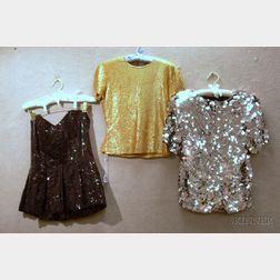 Three Vintage Designer Sequined Tops