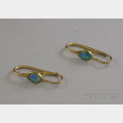 Pair of 9kt Gold and Black Opal Earrings.