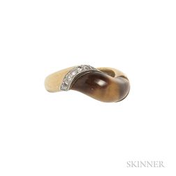 18kt Gold, Tiger's-eye, and Diamond Ring, Donald Claflin for Tiffany & Co.
