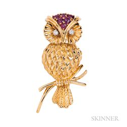 18kt Gold Owl Brooch, Tiffany & Co.