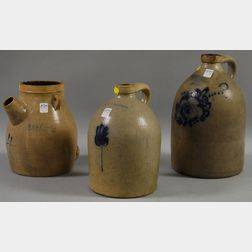 Three Cobalt-decorated Stoneware Jugs
