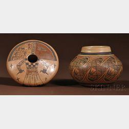 Two Contemporary Hopi Polychrome Pottery Bowls