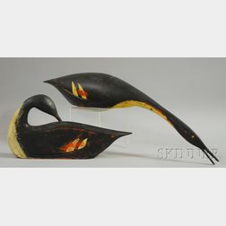 Two Carved and Painted Merganser Duck Decoys