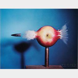 """Harold E. """"Doc"""" Edgerton (American, 1903-1990)      Bullet Through Apple"""