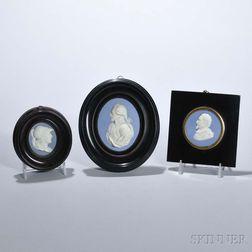 Three Wedgwood Solid Blue Jasper Portrait Medallions