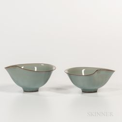 Pair of Kawase Shinobu (b. 1950) Celadon Wine Cups