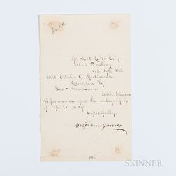 Young, Brigham (1801-1877) Letter Signed, Salt Lake City, Utah, 17 September 1866.