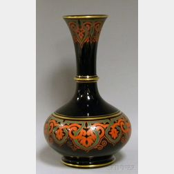 Late Victorian Persian-style Enamel-decorated Gloss Black Glazed Art Pottery Vase