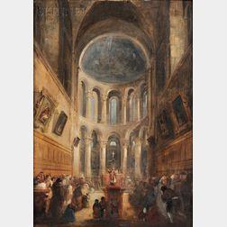 John Scarlett Davis (British, 1804-c.1845)      Interior of a Church