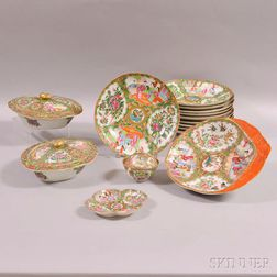 Fifteen Pieces of Chinese Export Rose Medallion Porcelain Tableware