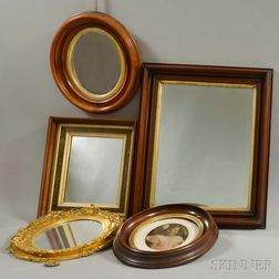 Five Mostly Walnut Mirrors and Frames.     Estimate $50-150