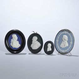 Four Wedgwood Jasper Oval Portrait Medallions
