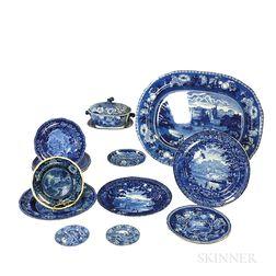 Sixteen Staffordshire Blue Transfer-decorated Ceramic Tableware Items