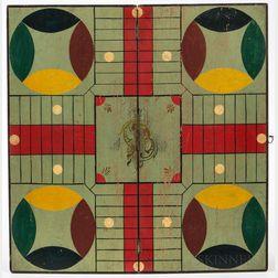 Painted Walnut Folding Parcheesi Game Board