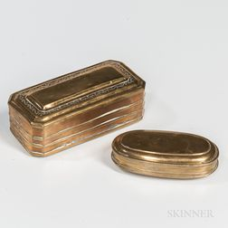 Two Hinged Brass Boxes