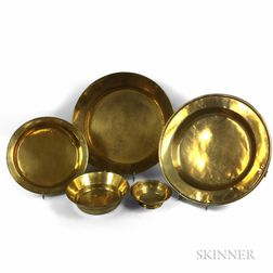 Five Brass Round Bowls and Basins