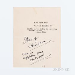 Houdini, Harry (1874-1926) Typed Note Signed, Brooklyn, New York, 21 March 1917.