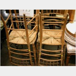 Set of Four Bamboo-turned Side Chairs with Rush Seats.