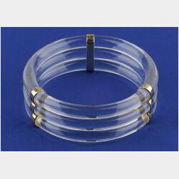 14kt Gold and Rock Crystal Bangle Bracelet