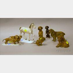 Seven Porcelain Animal Figurals
