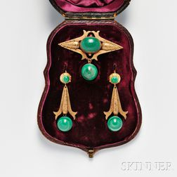 Victorian 14kt Gold and Malachite Suite