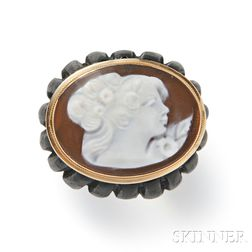 14kt Gold, Shell Cameo, and Wood Ring, Amedeo