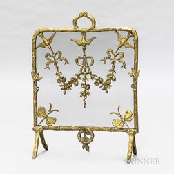 Brass Single-panel Fireplace Screen