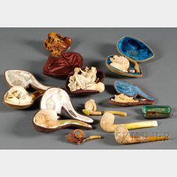Ten Carved Meerschaum Pipes