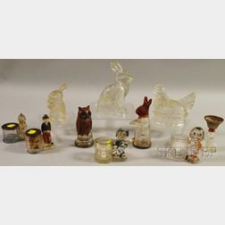 Ten Colorless Glass Figural Candy Containers