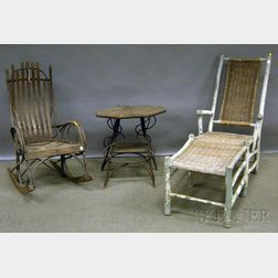 Seven Pieces of Mostly White-painted Rustic Adirondack Furniture