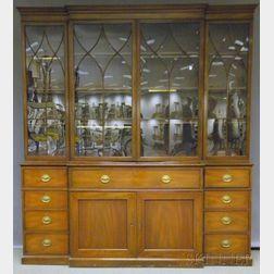 Kittinger Georgian-style Glazed Mahogany Butler's Desk/Breakfront