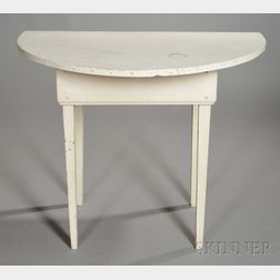 White-painted Pine Demilune Console Table
