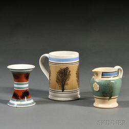 Three Seaweed-decorated Mochaware Items