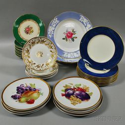 Thirty-three Assorted Porcelain Plates Including KPM and Copeland Spode