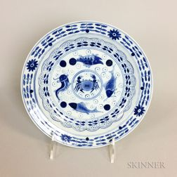 Chinese Porcelain Blue and White Transfer-decorated Fish Plate
