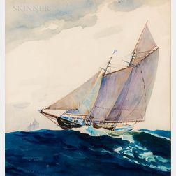James Verrier (American, c. 1936-2012)      Ship Under Sail.