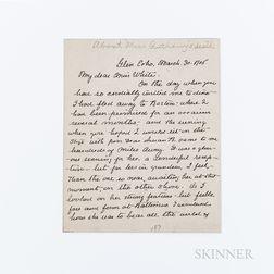 Barton, Clara (1830-1912) Autograph Letter Signed, Glen Echo, Maryland, 30 March 1906.