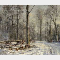 Herbert Royle  (British, 1870-1958)      Winter Scene with Loggers at Rest