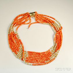 Coral, Pearl, and Gold Multi-strand Necklace