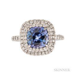 """Platinum, Tanzanite, and Diamond """"Soleste"""" Ring, Tiffany & Co."""