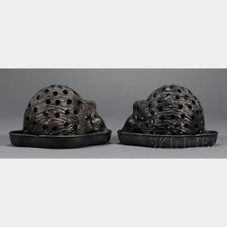 Pair of Wedgwood Black Basalt Hedgehog Crocus Pots and Underdishes